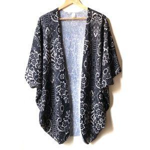 Anthropologie Birdcage Floral Print BatWing kimono